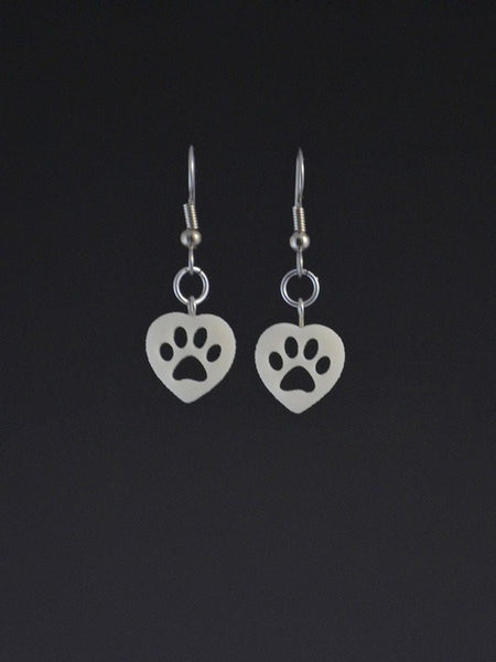 Puppy Paw Heart Small Corian Earrings
