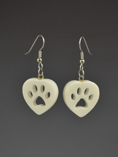 Puppy Paw Heart Corian Earrings