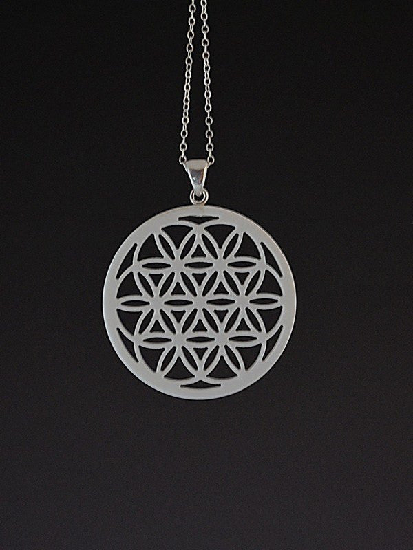 Seed of Life Corian and Sterling Silver Pendant
