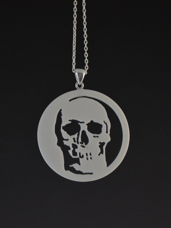 Skull Corian and Sterling Silver Pendant