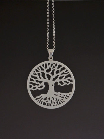 Tree of Life Corian and Sterling Silver Pendant