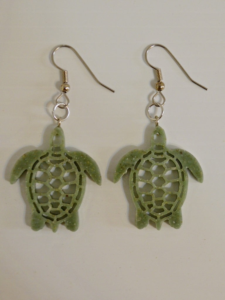 Green Corian Sea Turtle Earrings