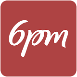 6pm Department Store Logo white cursive letters spelling store name on red rectangular background