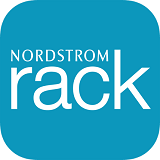 nordstron rack Department Store Logo white letters spelling rack on light blue rectangular background