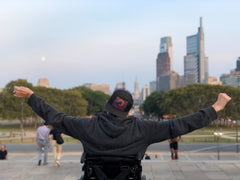 Rocky steps in Philadelphia with arms of victory