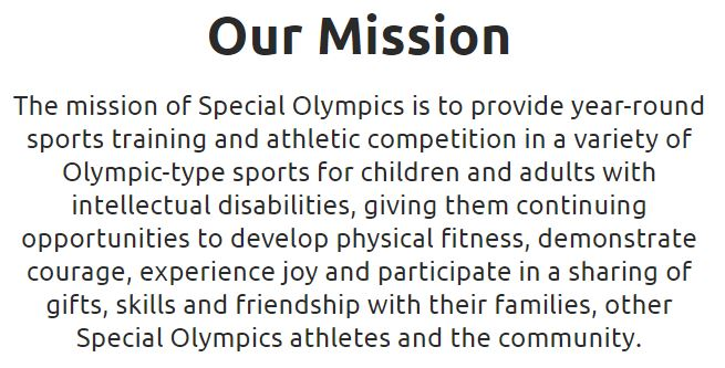 Special Olympics Mission Statement