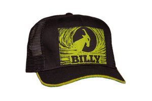 Trucker Hat - Lime on Black, zipper, shoes, velcro, adaptive, accessible, afo, universal, kids, comfortable, BILLY Footwear