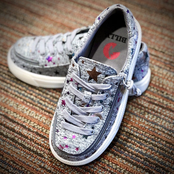Toddler Heather Grey Star BILLY Classic Lace Lows, zipper shoes, like velcro, that are adaptive, accessible, inclusive and use universal design to accommodate an afo. Footwear is medium and wide width, M, D and EEE, are comfortable, and come in toddler, kids, mens, and womens sizing.