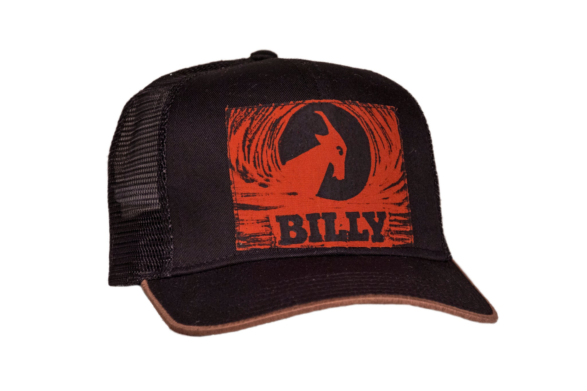 Trucker Hat - Burnt Orange on Black, zipper, shoes, velcro, adaptive, accessible, afo, universal, kids, comfortable, BILLY Footwear