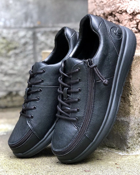 Men's Black to the Floor BILLY Work Comfort Lows, zipper shoes, like velcro, that are adaptive, accessible, inclusive and use universal design to accommodate an afo. Footwear is medium and wide width, M, D and EEE, are comfortable, and come in toddler, kids, mens, and womens sizing.