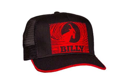 Trucker Hat - Red on Black, zipper, shoes, velcro, adaptive, accessible, afo, universal, kids, comfortable, BILLY Footwear