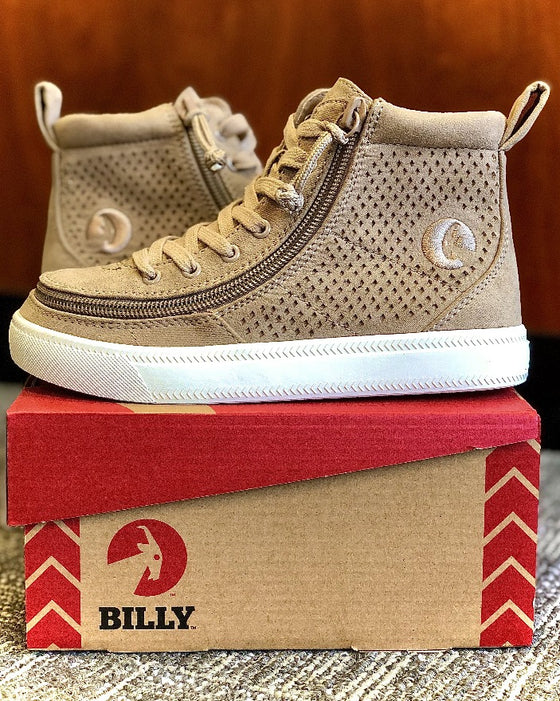 Kid's Tan Perf Faux Leather BILLY Classic Lace Highs, zipper shoes, like velcro, that are adaptive, accessible, inclusive and use universal design to accommodate an afo. Footwear is medium and wide width, M, D and EEE, are comfortable, and come in toddler, kids, mens, and womens sizing.