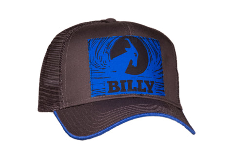 Trucker Hat - Blue on Grey, zipper, shoes, velcro, adaptive, accessible, afo, universal, kids, comfortable, BILLY Footwear
