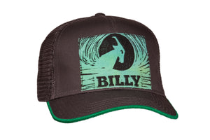 Trucker Hat - Green on Grey, zipper, shoes, velcro, adaptive, accessible, afo, universal, kids, comfortable, BILLY Footwear