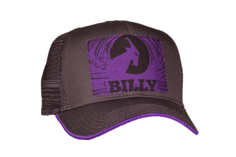 Trucker Hat - Purple on Grey, zipper, shoes, velcro, adaptive, accessible, afo, universal, kids, comfortable, BILLY Footwear