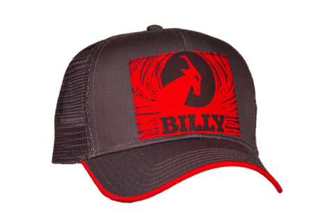 Trucker Hat - Red on Grey, zipper, shoes, velcro, adaptive, accessible, afo, universal, kids, comfortable, BILLY Footwear