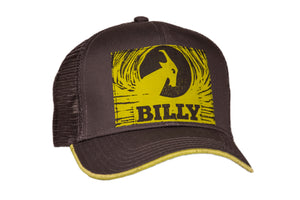 Trucker Hat - Yellow on Grey, zipper, shoes, velcro, adaptive, accessible, afo, universal, kids, comfortable, BILLY Footwear