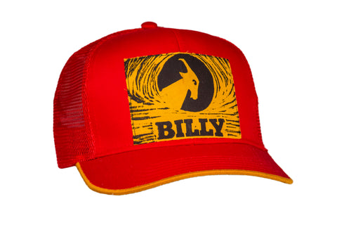 Trucker Hat - Yellow on Red, zipper, shoes, velcro, adaptive, accessible, afo, universal, kids, comfortable, BILLY Footwear