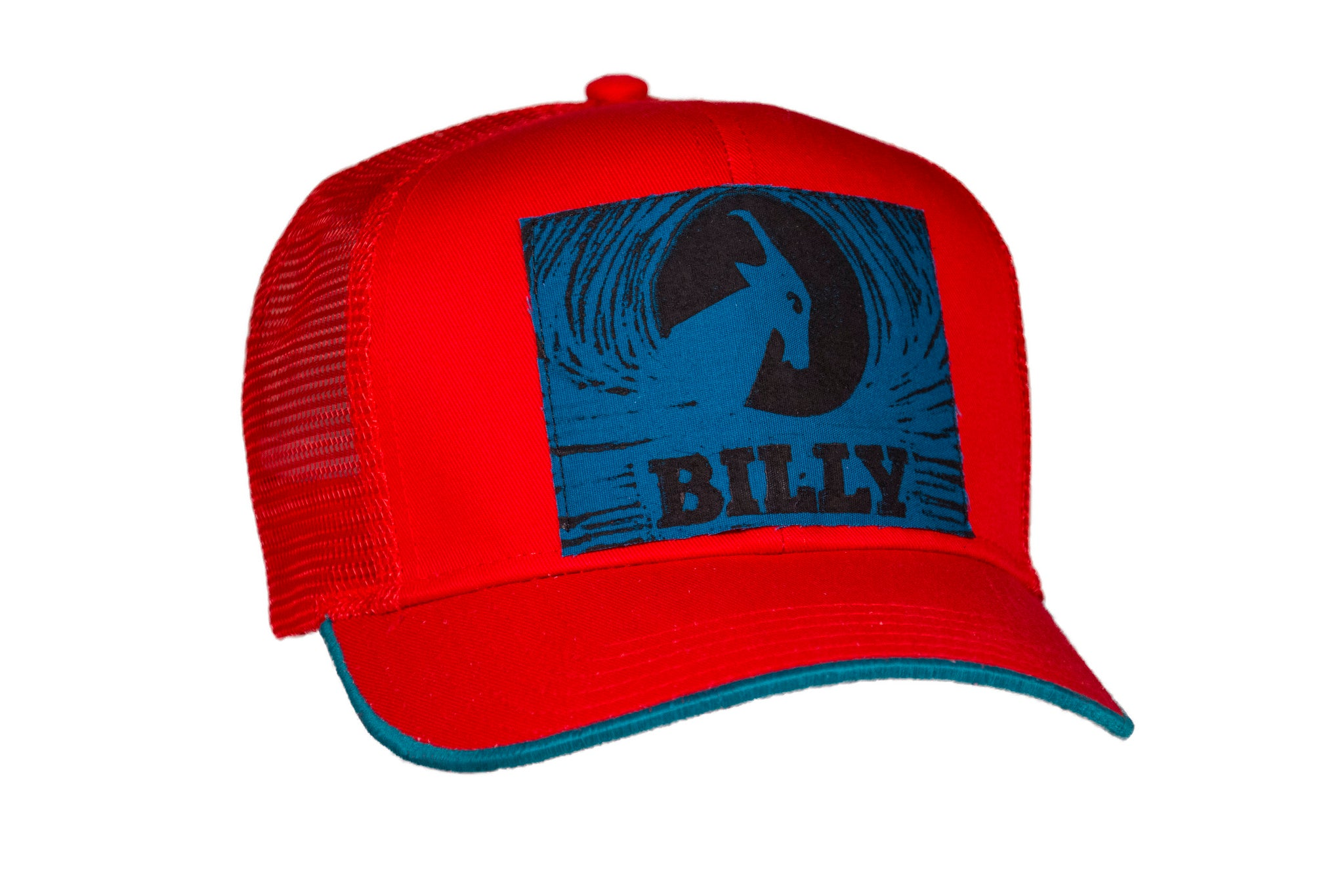 Trucker Hat - Blue on Red, zipper, shoes, velcro, adaptive, accessible, afo, universal, kids, comfortable, BILLY Footwear