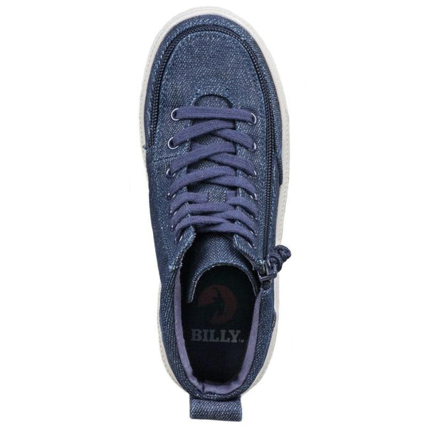 BILLY Classic Lace High Kid's Blue Denim Glitter Zip, zipper, shoes, velcro, adaptive, accessible, afo, universal, kids, comfortable, BILLY Footwear