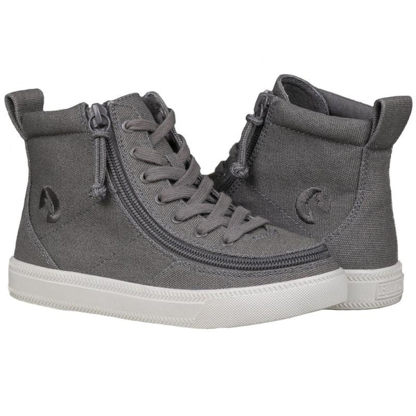 BILLY Classic Lace High Kid's Dark Grey Canvas Zip, zipper, shoes, velcro, adaptive, accessible, afo, universal, kids, comfortable, BILLY Footwear