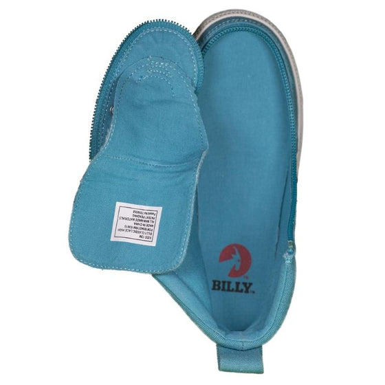 Kid's Turquoise BILLY Classic Lace Highs, zipper shoes, like velcro, that are adaptive, accessible, inclusive and use universal design to accommodate an afo. Footwear is medium and wide width, M, D and EEE, are comfortable, and come in toddler, kids, mens, and womens sizing.