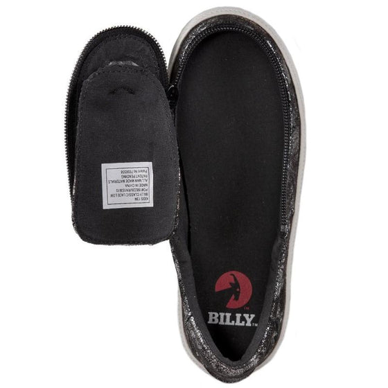 Kid's Black Metallic BILLY Classic Lace Low, zipper, shoes, velcro, adaptive, accessible, afo, universal, kids, comfortable, BILLY Footwear
