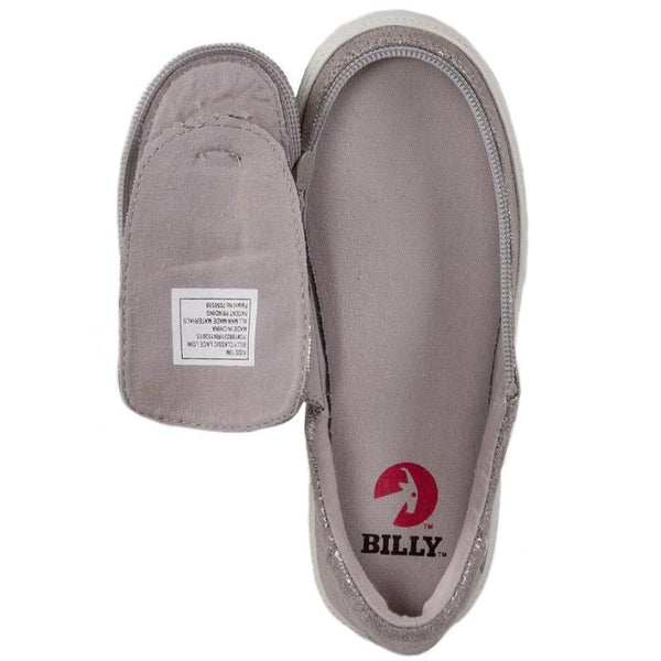 BILLY Classic Lace Low Kid's Grey Metallic Zip, zipper, shoes, velcro, adaptive, accessible, afo, universal, kids, comfortable, BILLY Footwear