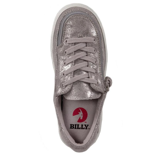 Kid's Grey Metallic BILLY Classic Lace Low, zipper, shoes, velcro, adaptive, accessible, afo, universal, kids, comfortable, BILLY Footwear