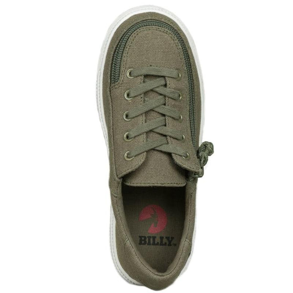 Green Canvas Kid's Laced Lowtop Shoes, zipper, shoes, velcro, adaptive, accessible, afo, universal, kids, comfortable, BILLY Footwear