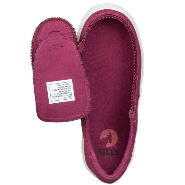 BILLY Classic Lace Low Kid's Wine Canvas Zip, zipper, shoes, velcro, adaptive, accessible, afo, universal, kids, comfortable, BILLY Footwear