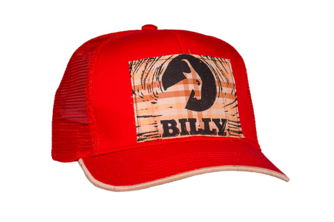 Trucker Hat - Flannel on Red, zipper, shoes, velcro, adaptive, accessible, afo, universal, kids, comfortable, BILLY Footwear