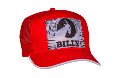 Trucker Hat - Light Blue on Red, zipper, shoes, velcro, adaptive, accessible, afo, universal, kids, comfortable, BILLY Footwear