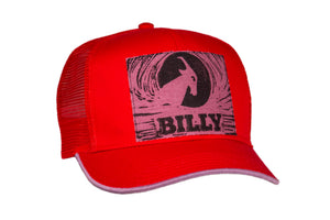 Trucker Hat - Purple on Red, zipper, shoes, velcro, adaptive, accessible, afo, universal, kids, comfortable, BILLY Footwear