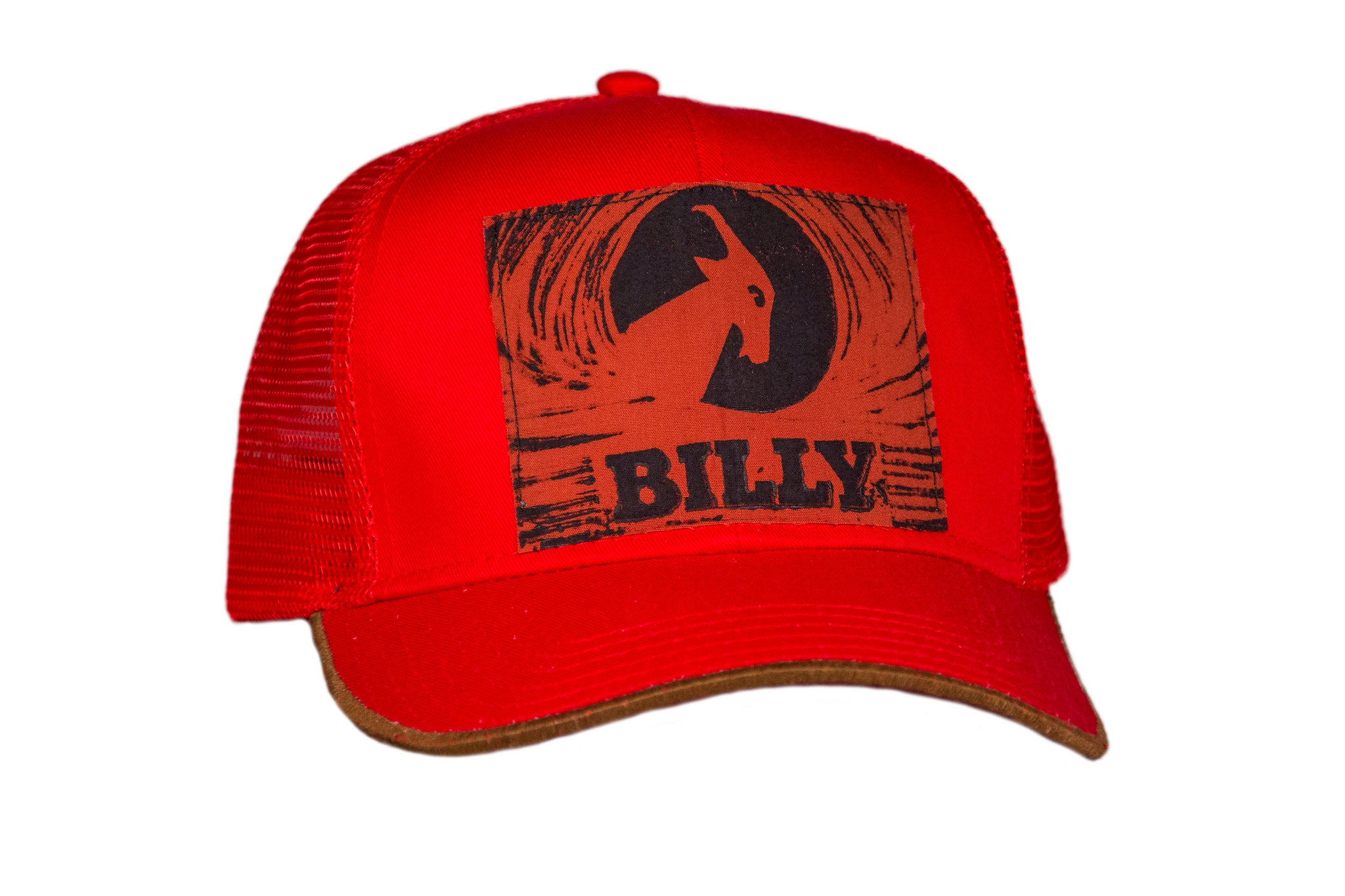 Trucker Hat - Burnt Orange on Red, zipper, shoes, velcro, adaptive, accessible, afo, universal, kids, comfortable, BILLY Footwear