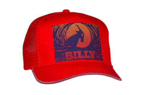Trucker Hat - Sunrise on Red, zipper, shoes, velcro, adaptive, accessible, afo, universal, kids, comfortable, BILLY Footwear