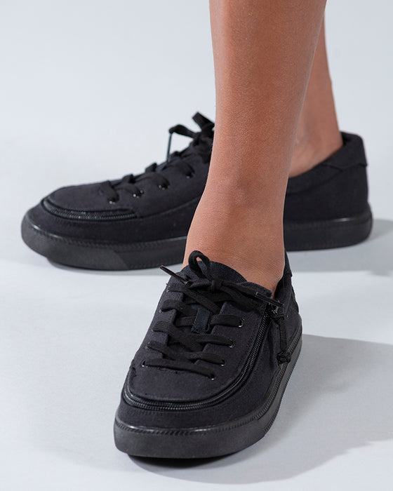 Kid's Black to the Floor Canvas BILLY Classic Lace Lows, zipper shoes, like velcro, that are adaptive, accessible, inclusive and use universal design to accommodate an afo. Footwear is medium and wide width, M, D and EEE, are comfortable, and come in toddler, kids, mens, and womens sizing.