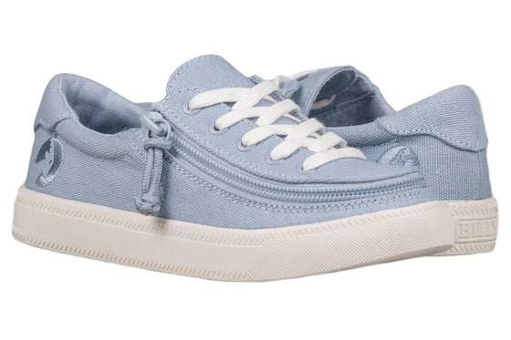 Kid's Light Blue BILLY Classic Lace Lows, zipper shoes, like velcro, that are adaptive, accessible, inclusive and use universal design to accommodate an afo. Footwear is medium and wide width, M, D and EEE, are comfortable, and come in toddler, kids, mens, and womens sizing.