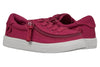Kid's Wine BILLY Classic Lace Lows, zipper shoes, like velcro, that are adaptive, accessible, inclusive and use universal design to accommodate an afo. Footwear is medium and wide width, M, D and EEE, are comfortable, and come in toddler, kids, mens, and womens sizing.