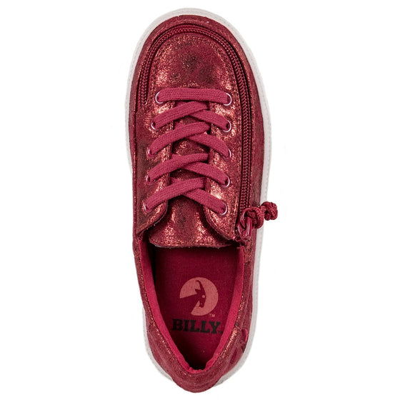 Kid's Wine Metallic BILLY Classic Lace Low, zipper, shoes, velcro, adaptive, accessible, afo, universal, kids, comfortable, BILLY Footwear