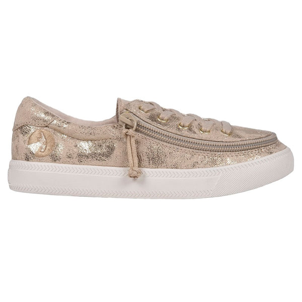 Kid's Gold Metallic BILLY Classic Lace Low, zipper, shoes, velcro, adaptive, accessible, afo, universal, kids, comfortable, BILLY Footwear
