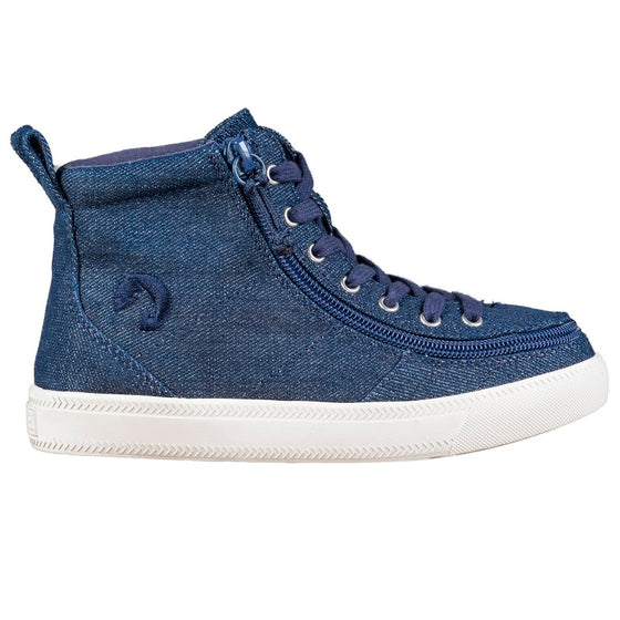 Kid's Blue Denim Glitter BILLY Classic Lace Highs, zipper shoes, like velcro, that are adaptive, accessible, inclusive and use universal design to accommodate an afo. Footwear is medium and wide width, M, D and EEE, are comfortable, and come in toddler, kids, mens, and womens sizing.