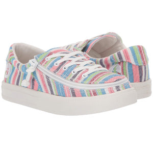 Kid's Pink Woven Stripes BILLY Classic Lace Low, zipper, shoes, velcro, adaptive, accessible, afo, universal, kids, comfortable, BILLY Footwear