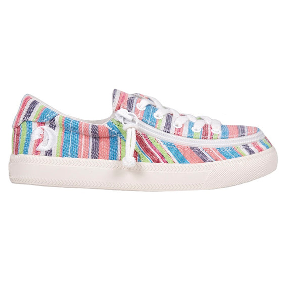 Kid's Pink Woven Stripes BILLY Classic Lace Lows, zipper shoes, like velcro, that are adaptive, accessible, inclusive and use universal design to accommodate an afo. Footwear is medium and wide width, M, D and EEE, are comfortable, and come in toddler, kids, mens, and womens sizing.