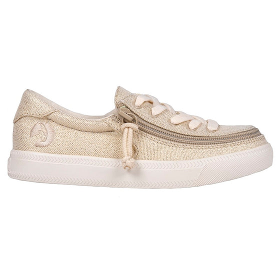 Kid's Natural Gold Lux BILLY Classic Lace Lows, zipper shoes, like velcro, that are adaptive, accessible, inclusive and use universal design to accommodate an afo. Footwear is medium and wide width, M, D and EEE, are comfortable, and come in toddler, kids, mens, and womens sizing.
