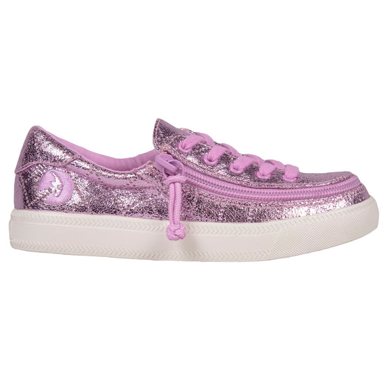 Kid's Pink Quilted Metallic BILLY Classic Lace Lows, zipper shoes, like velcro, that are adaptive, accessible, inclusive and use universal design to accommodate an afo. Footwear is medium and wide width, M, D and EEE, are comfortable, and come in toddler, kids, mens, and womens sizing.