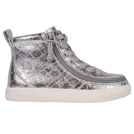 Kid's Silver Metallic BILLY Classic Lace Highs, zipper shoes, like velcro, that are adaptive, accessible, inclusive and use universal design to accommodate an afo. Footwear is medium and wide width, M, D and EEE, are comfortable, and come in toddler, kids, mens, and womens sizing.