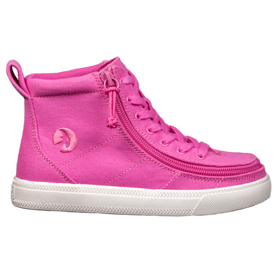 Kid's Pink Raspberry BILLY Classic Lace Highs, zipper, shoes, velcro, adaptive, accessible, afo, universal, kids, comfortable, BILLY Footwear