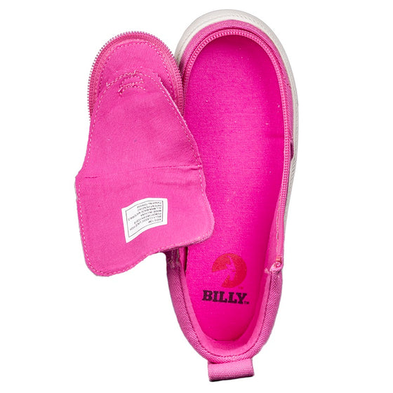 Kid's Pink Raspberry BILLY Classic Lace Highs, zipper shoes, like velcro, that are adaptive, accessible, inclusive and use universal design to accommodate an afo. Footwear is medium and wide width, M, D and EEE, are comfortable, and come in toddler, kids, mens, and womens sizing.