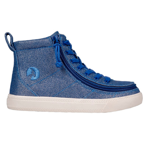 Kid's Beach Blue Lux BILLY Classic Lace High, zipper, shoes, velcro, adaptive, accessible, afo, universal, kids, comfortable, BILLY Footwear